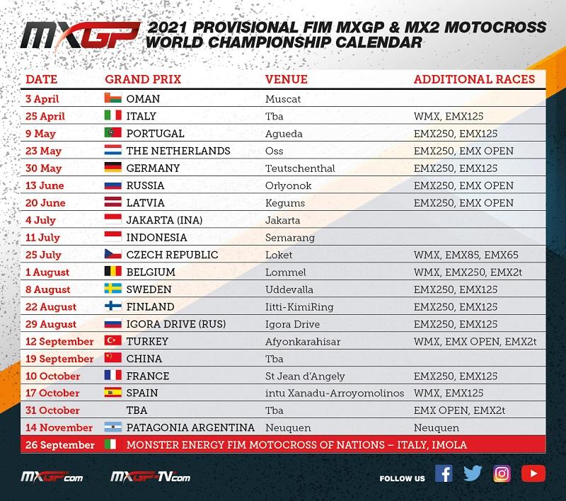 Calendário MXGP